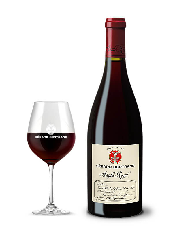 aigle royal pinot noir gérard bertrand red wine glass