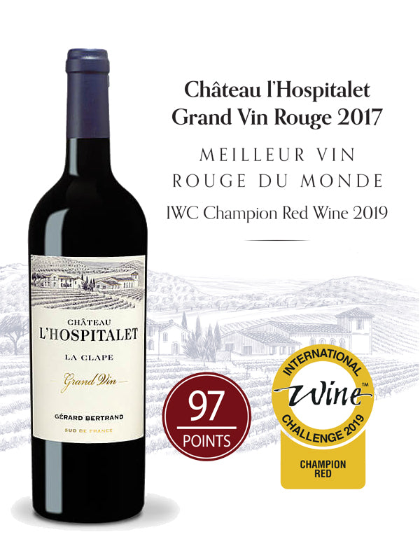chateau l'hospitalet grand vin red wine la clape 2017 organic biodynamic wine best red wine in the world IWC red wine trophy