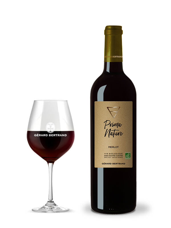 Prima Nature Merlot organic red wine, Vegan and without sulfites Gérard Bertrand