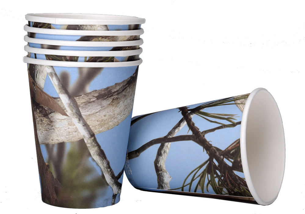 Cups, Blue Camo 12oz Paper Party 8pk, Decorations-GulfCoastBeads.com