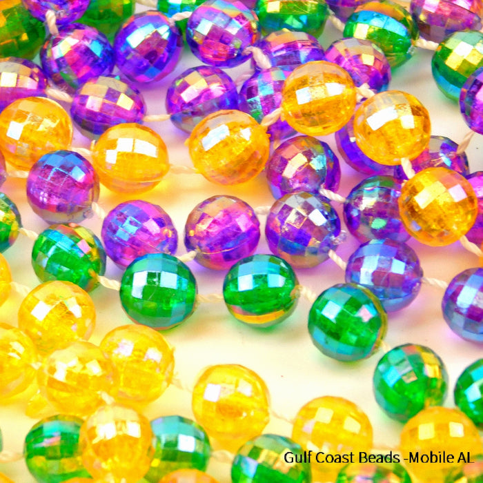 Beads, 12mm 48in Globe AB Color Purple, Green, Gold, Beads-GulfCoastBeads.com