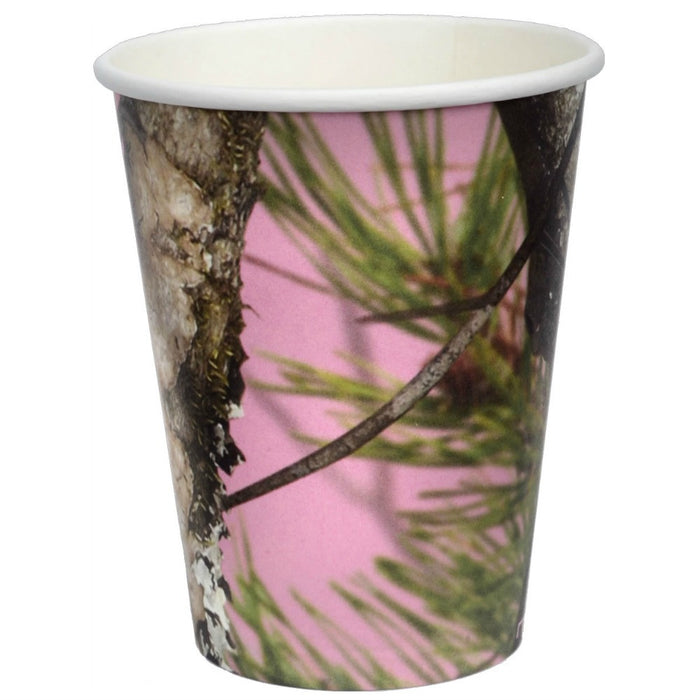 Cups, Pink Camo 12oz Paper Party 8Pk, Decorations-GulfCoastBeads.com