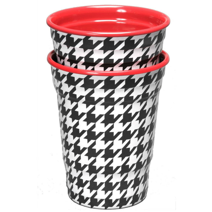 Cups, Bamaflage Houndstooth Plastic Party 16oz 2Pk, Decorations-GulfCoastBeads.com