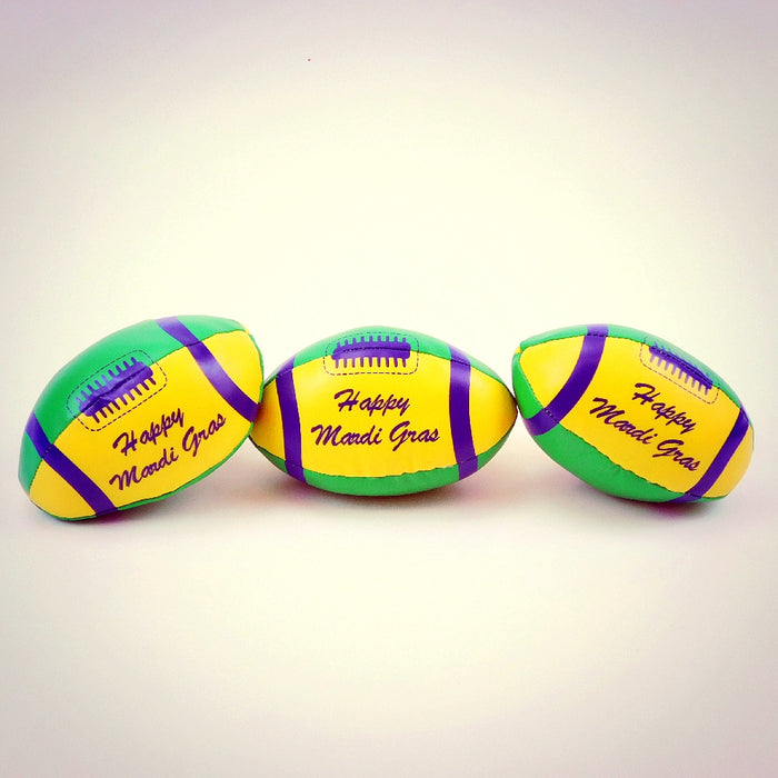 Football, Vinyl 3.5in Purple Green Gold with 'Happy Mardi Gras', Novelty-GulfCoastBeads.com