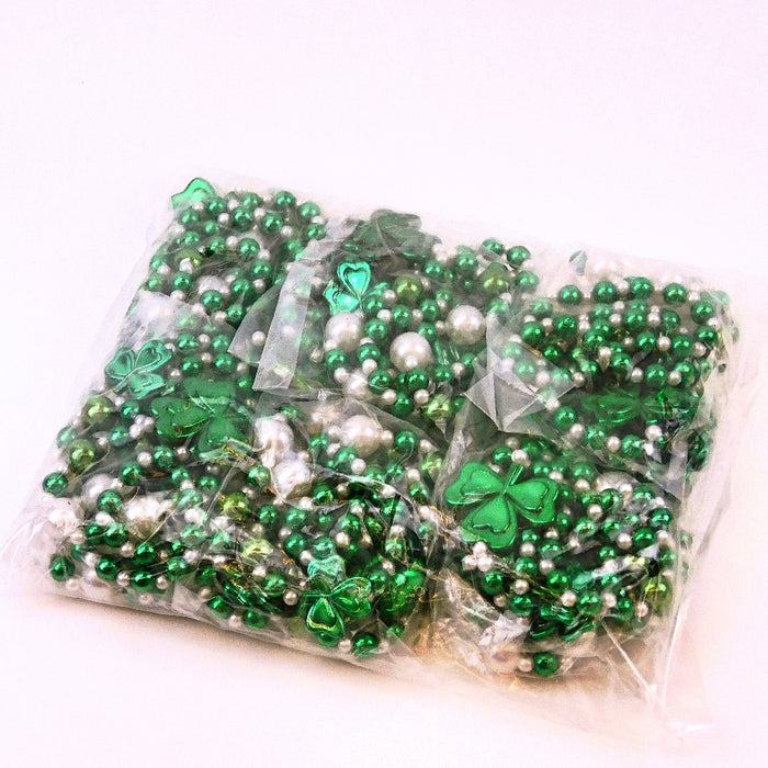 Beads, 36in Metallic Green, White Pearl and Shamrocks, Beads-GulfCoastBeads.com