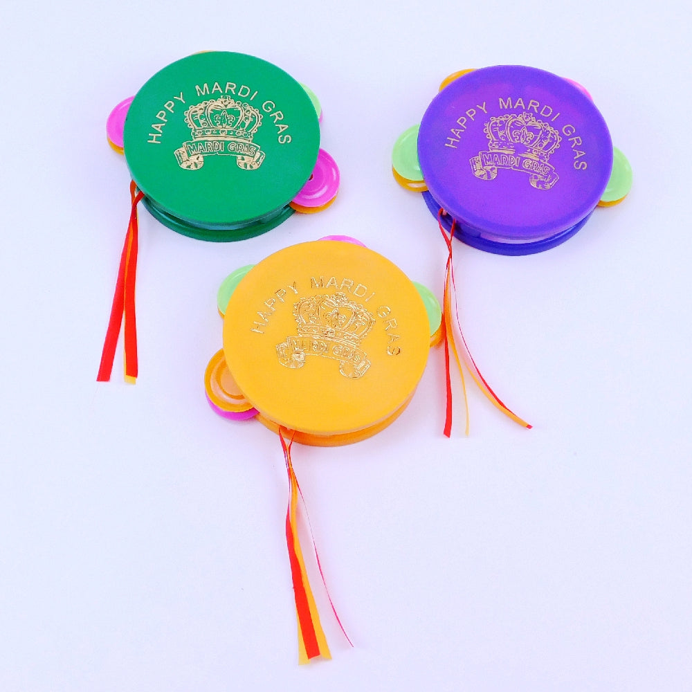 Best Place To Buy Tambourine w/Crown, 3.5in Gold 'Happy Mardi Gras' Online - Gulf Coast Beads