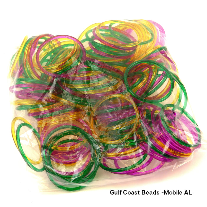 Bracelet, Purple Green Yellow Bangle 3in 5mm, 144 pieces, Novelty-GulfCoastBeads.com