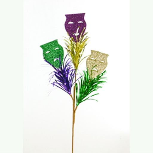 mardi gras masks decor tinsel stem