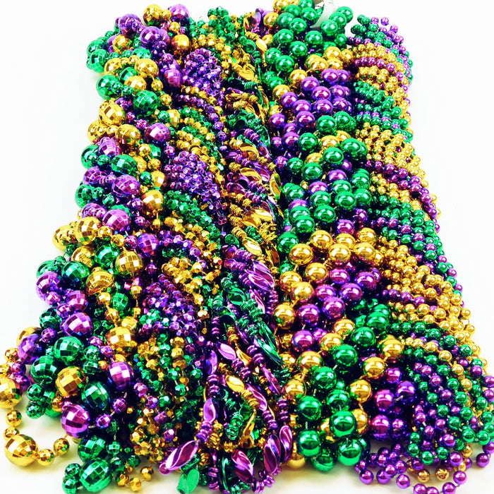 Beads, 48in Metallic Mix in Mardi Gras Colors, Beads-GulfCoastBeads.com