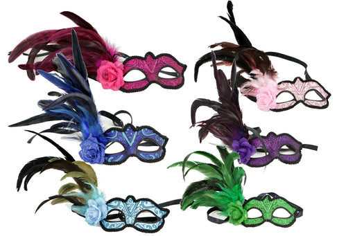 Mask -Feather Eye Mask, Color Assortment, Decorations-GulfCoastBeads.com