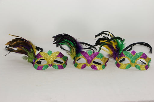 Mask, Mardi Gras Feather Purple Green Gold, Decorations-GulfCoastBeads.com