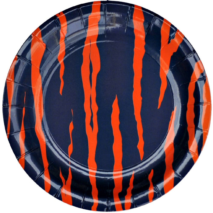 Best Place To Buy Plates, Blue Orange Tiger Stripe 9in Paper 8pk Online - Gulf Coast Beads