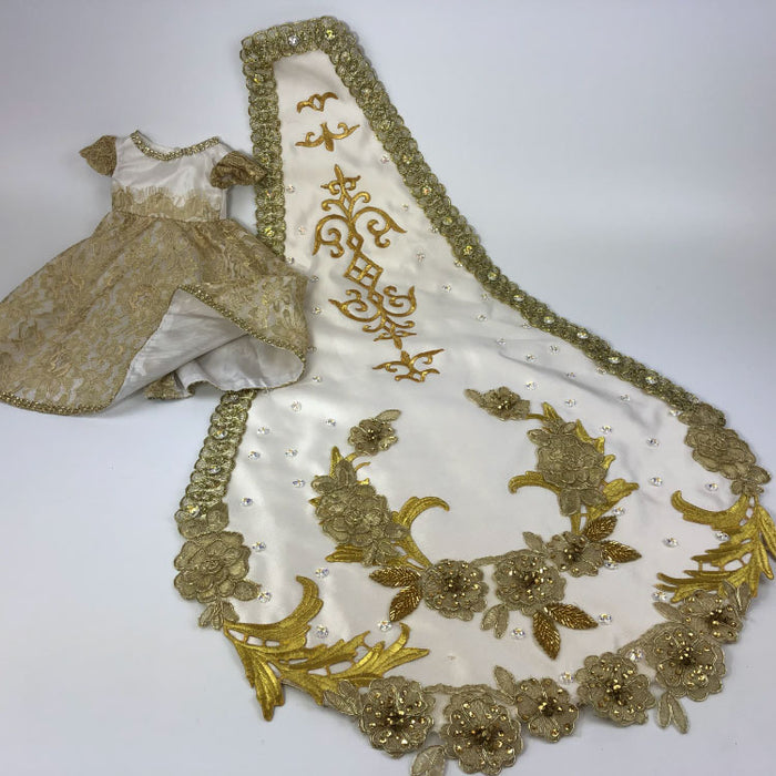 gold and offwhite Ball Gown with detailed Train for Mardi Gras - Gulf Coast Beads