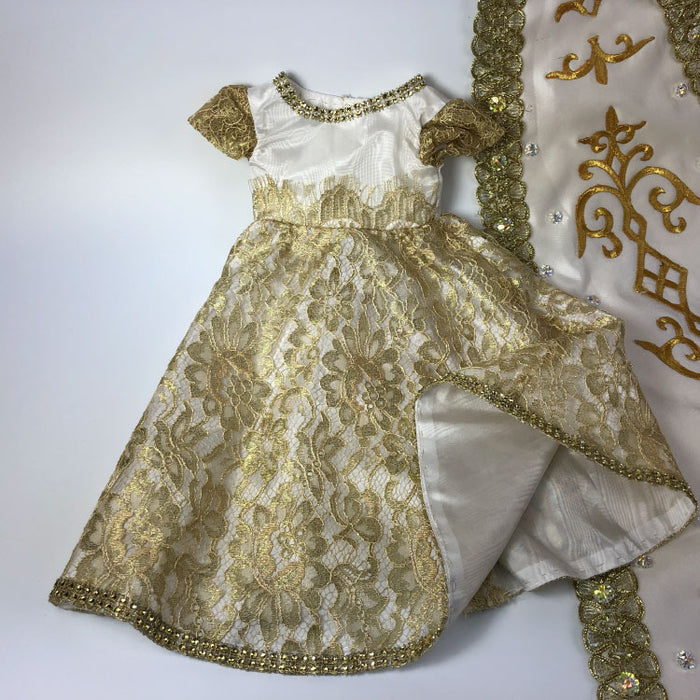 lovely golden ball gown for doll - Gulf Coast Beads