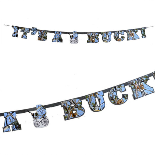 Banner, Blue Camo It's a Buck Baby Shower 1Pc, Decorations-GulfCoastBeads.com