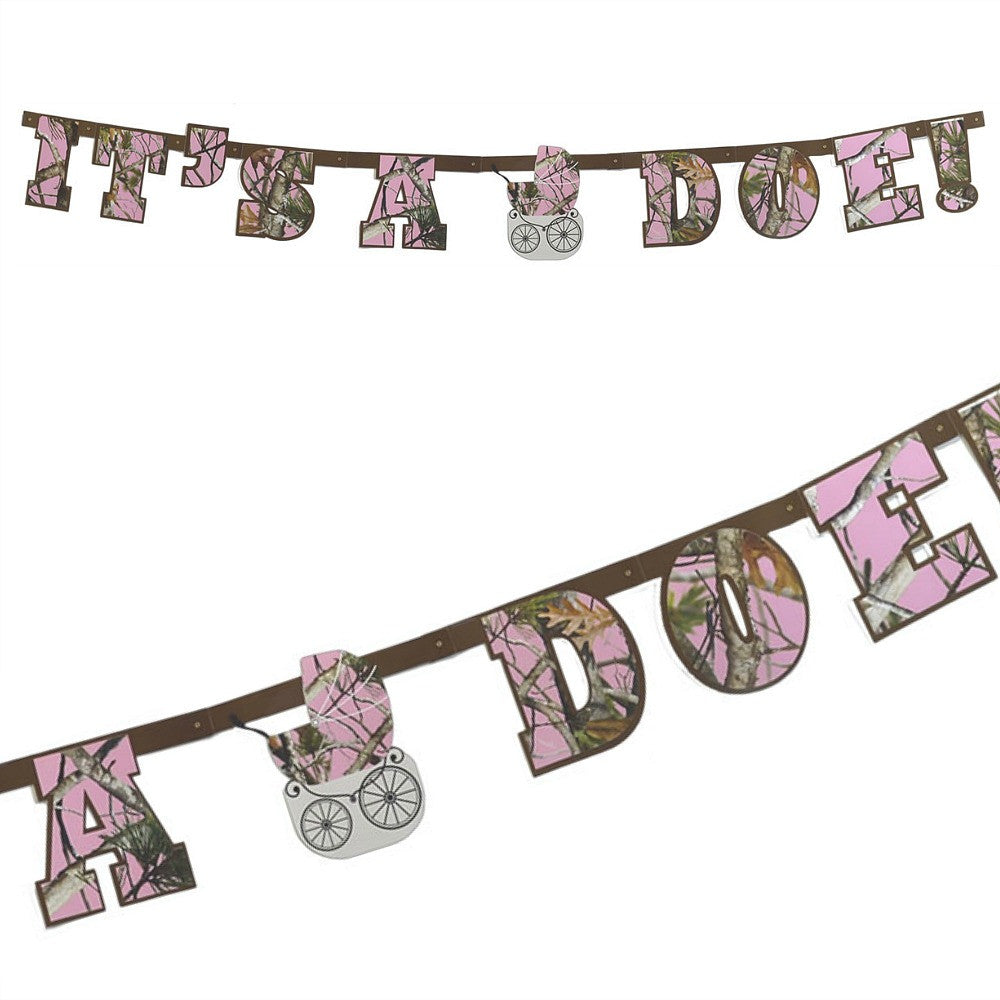 Banner, Pink Camo It's a Doe Baby Shower 1Pc, Decorations-GulfCoastBeads.com