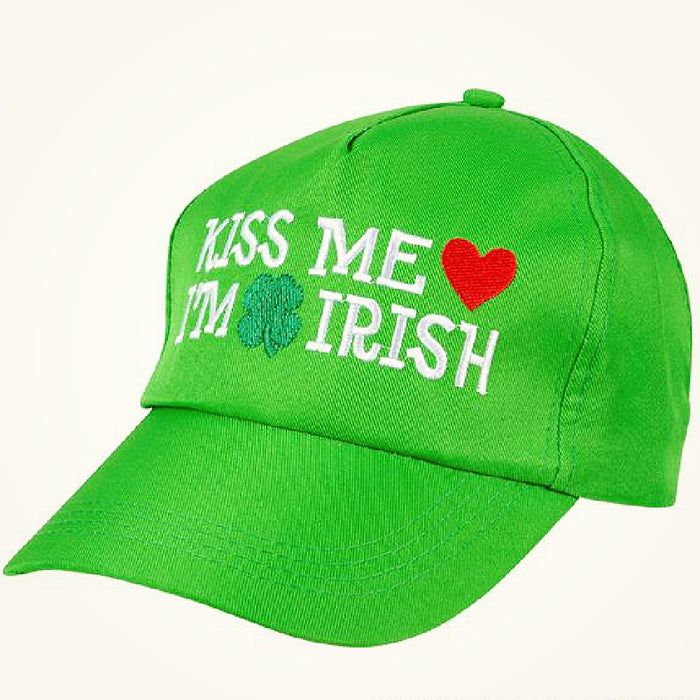 Hat, 'Kiss Me I'm Irish' Baseball 1 piece, Apparel-GulfCoastBeads.com