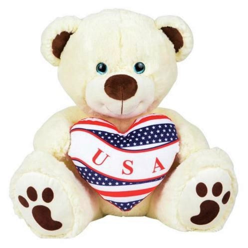 "Bear, 16"" with USA Patriotic Heart, Novelty-GulfCoastBeads.com"