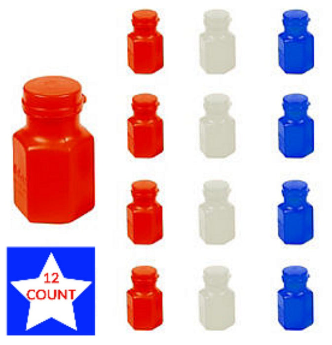 Bubbles, Red-White-Blue Hexagon Bottles .3oz/ea 12Pk, Decorations-GulfCoastBeads.com