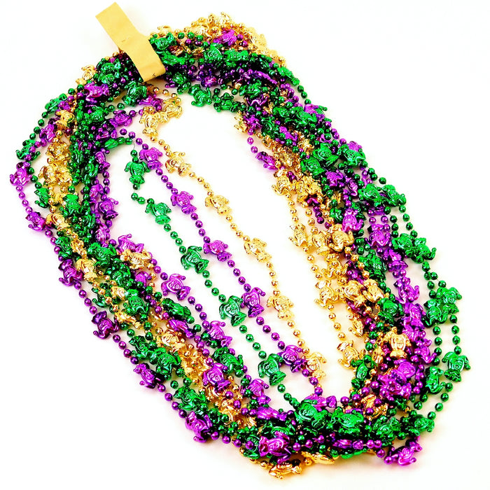 Beads, 48in Metallic Purple, Green, Gold with Jesters, Beads-GulfCoastBeads.com