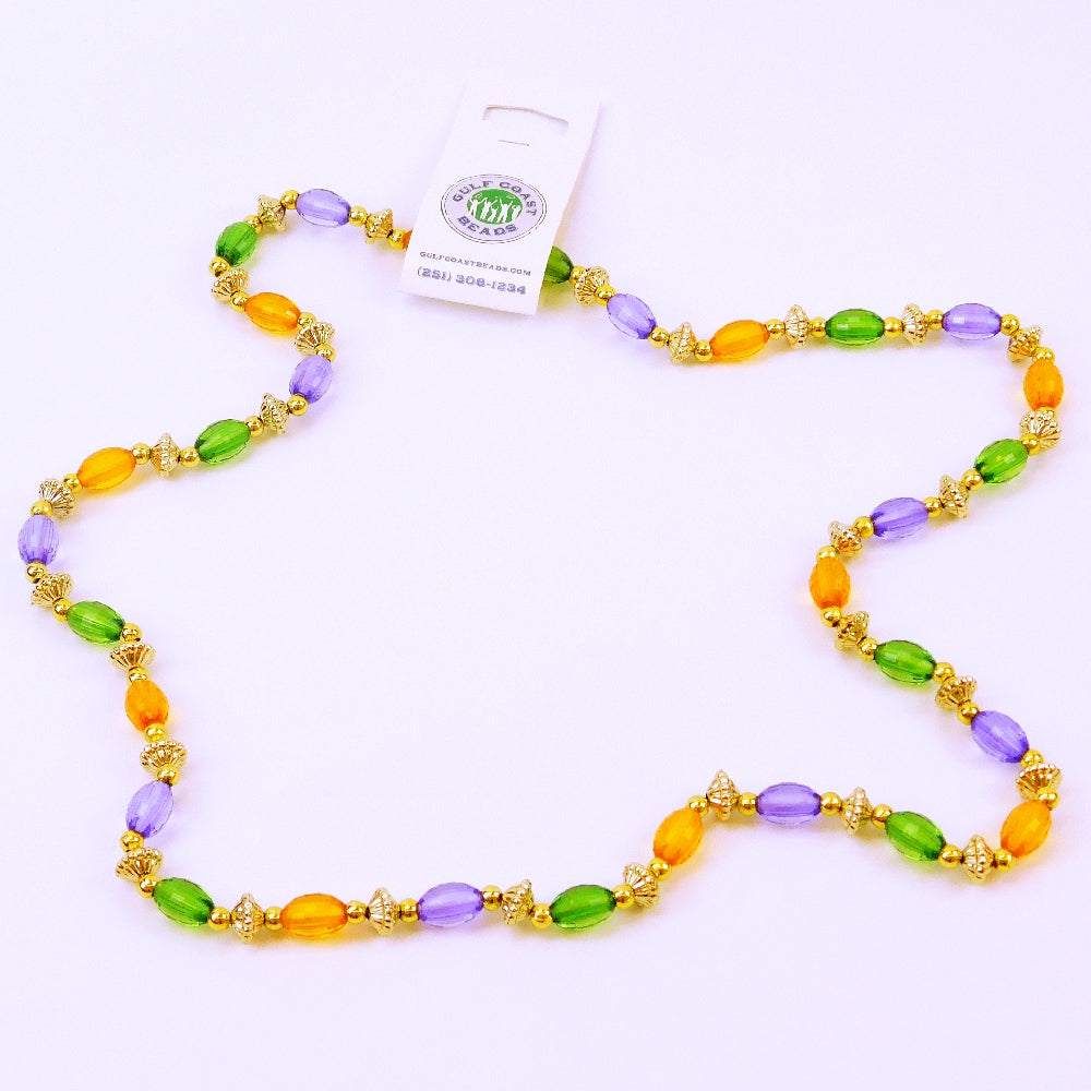Beads, 15mm 38in Transparent Purple, Green, Yellow Oval with Saucer, Beads-GulfCoastBeads.com