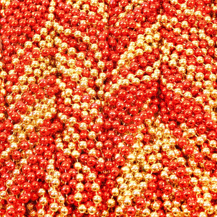 Beads, 10mm 48in Metallic Red & Gold, Beads-GulfCoastBeads.com