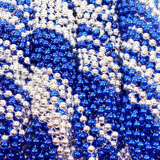 Beads, 12mm 33in Metallic Blue & Silver, Beads-GulfCoastBeads.com