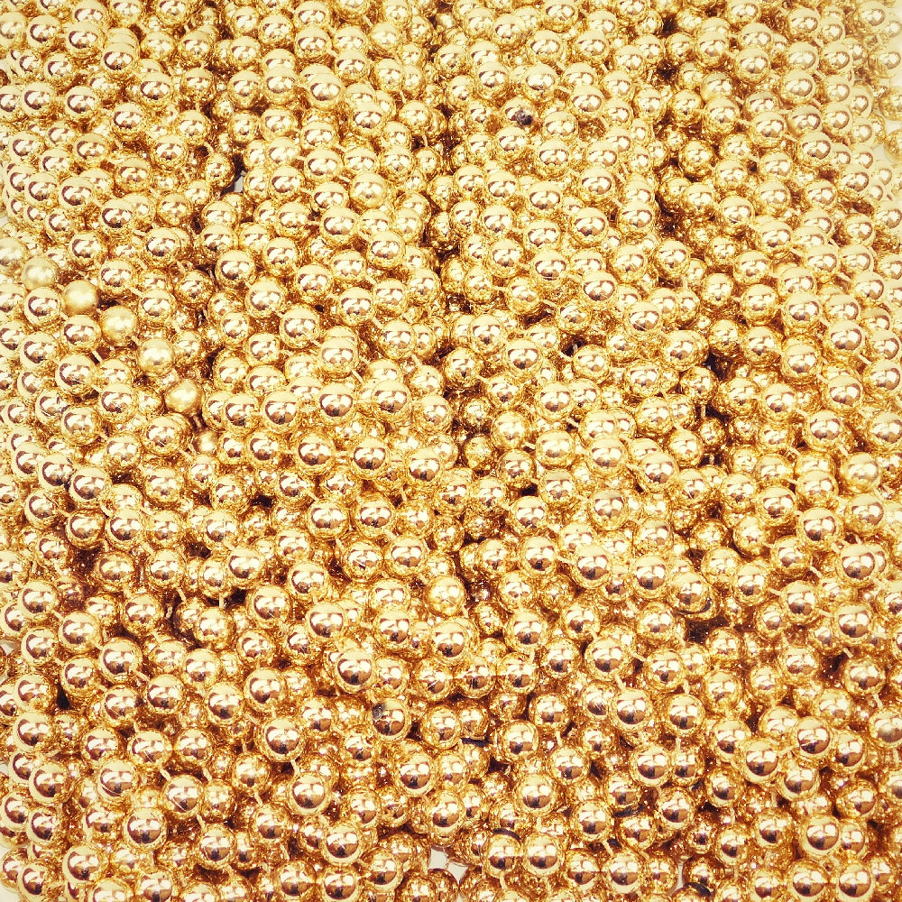 Beads, 14mm 48in Metallic Gold, Beads-GulfCoastBeads.com