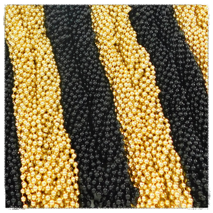 Beads, 7mm 33in Metallic Black and Gold, Beads-GulfCoastBeads.com