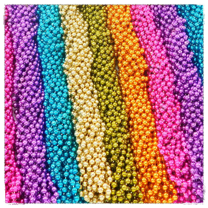Beads, 7mm 33in Metallic Asst Neon, Beads-GulfCoastBeads.com