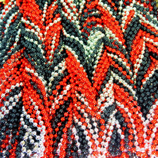 Beads, 7mm 33in  Metallic Red, Black, Silver, Beads-GulfCoastBeads.com