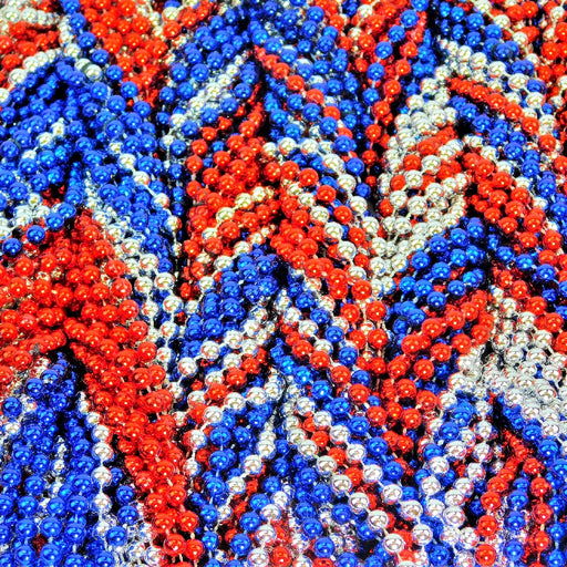 Beads, 7mm 33in Metallic Red, Blue, Silver, Beads-GulfCoastBeads.com
