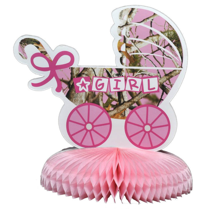 Centerpiece, Pink Camo It's A Girl 1Pc, Decorations-GulfCoastBeads.com