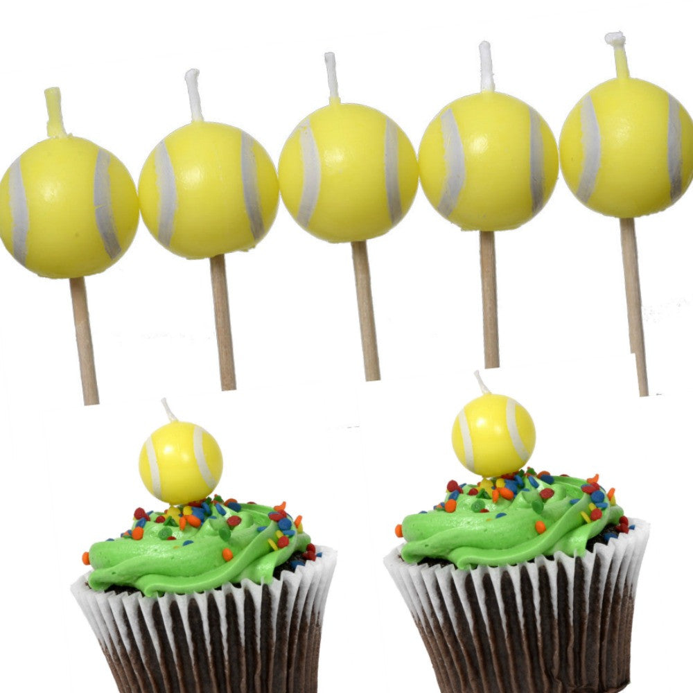 Candles, Tennis Party 5Pk, Decorations-GulfCoastBeads.com