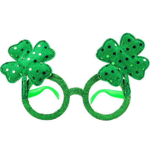 Glasses, Shamrock Glitter 1 piece, Novelty-GulfCoastBeads.com