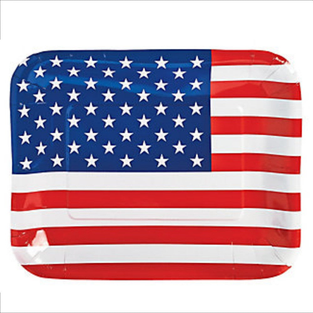 Plates, Patriotic Flag Shaped Dinner 8Pk, Decorations - GulfCoastBeads.com