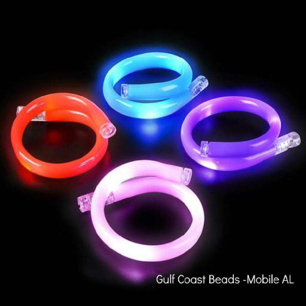 Bracelet, LED Double Loop Flashing Tube 1 Piece, Novelty-GulfCoastBeads.com