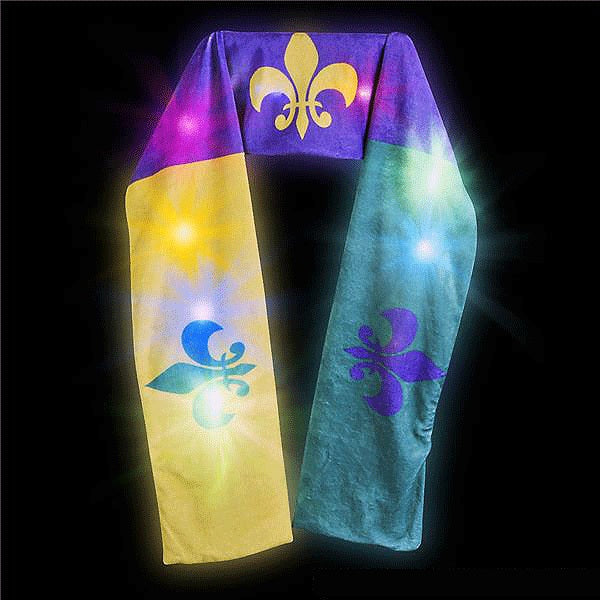 purple, green, gold mardi gras light up scarf