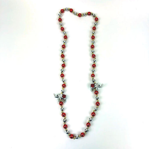 handstrung necklace red and silver beads with elephants - Gulf Coast Beads
