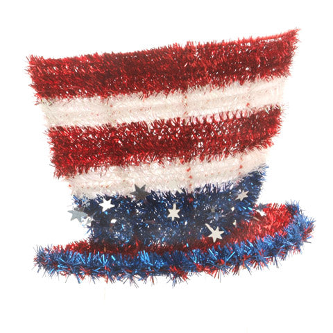 Hat, Tinsel Uncle Sam 8inx10in Red, White, Blue, Decorations-GulfCoastBeads.com