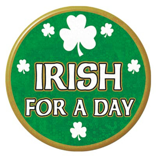 Button, Pin-On 'Irish for a Day', Apparel-GulfCoastBeads.com