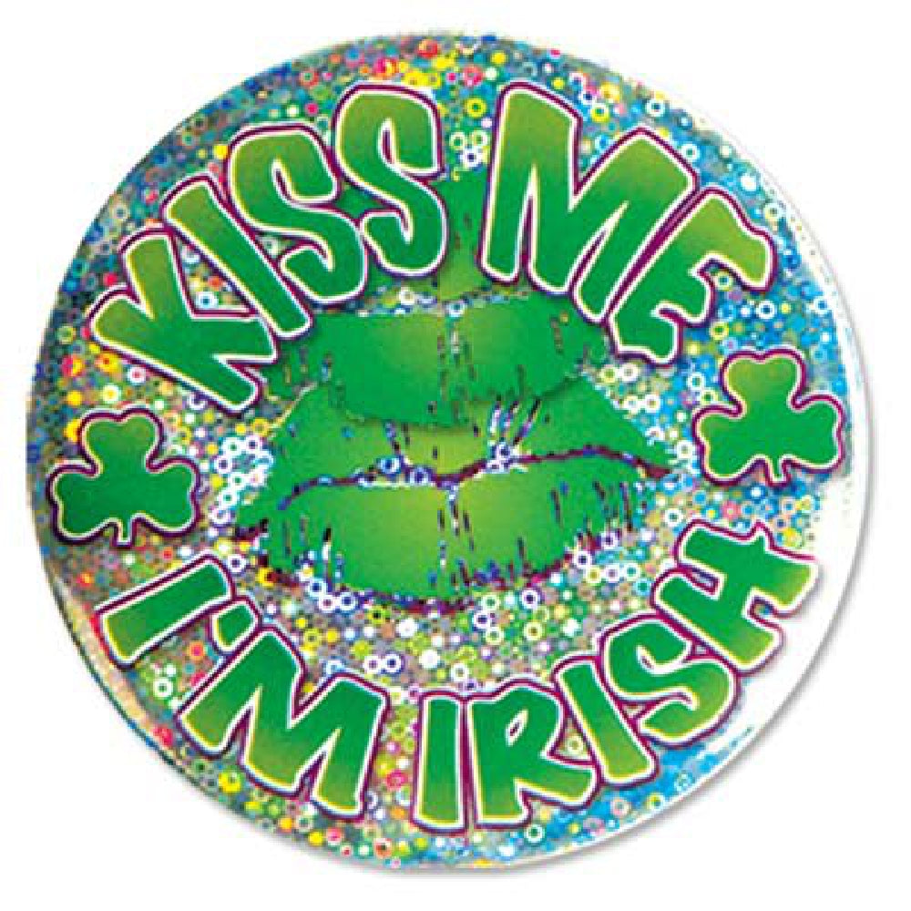 Button, Pin-On 'Kiss Me I'm Irish', Apparel-GulfCoastBeads.com