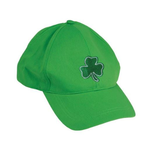 Hat, Green Shamrock Baseball 1 piece, Apparel-GulfCoastBeads.com