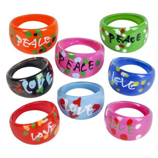 retro love peace rings available at Gulf Coast Beads