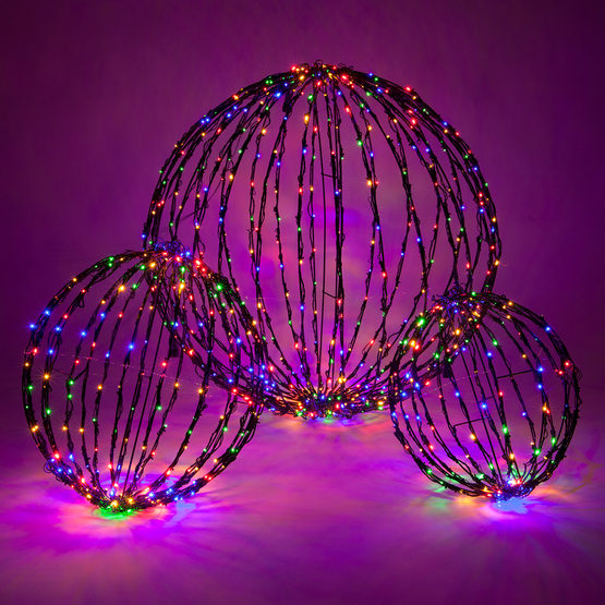 Light Ball, LED Multicolor Bulbs Black Frame, folds flat, Decorations-GulfCoastBeads.com