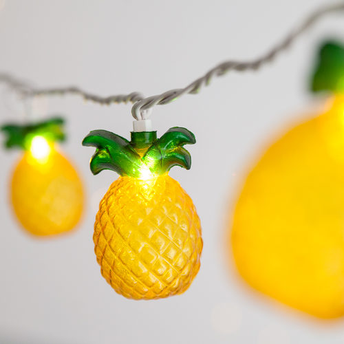 Lights, Yellow Pineapple String 10 Mini Plug-in, Decorations-GulfCoastBeads.com