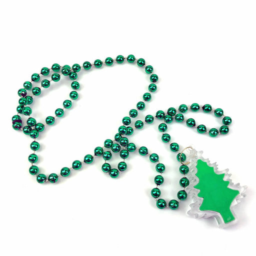 Green lightup christmas trees necklace with 7mm metalic green beads