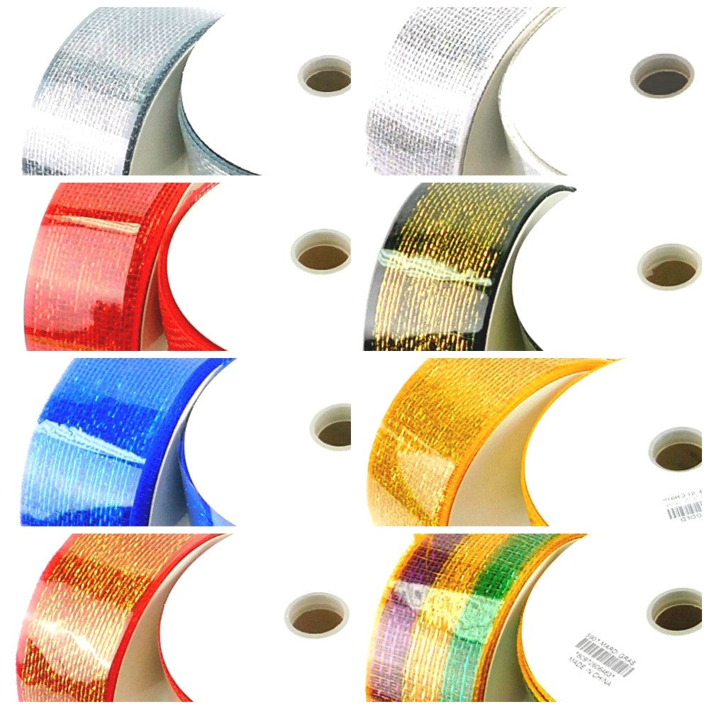 Mesh, Metallic Decorating Ribbon 2.5in x 25yds/Roll, Decorations-GulfCoastBeads.com