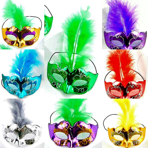 Mask, Feather 3.5in x 1.5in Mini 1Dz/Bag, Decorations-GulfCoastBeads.com