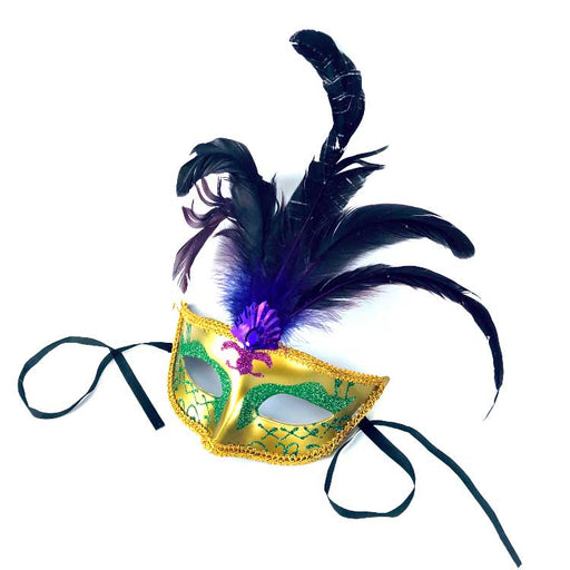 adorned feather mask for Mardi Gras at Gulf Coast Beads